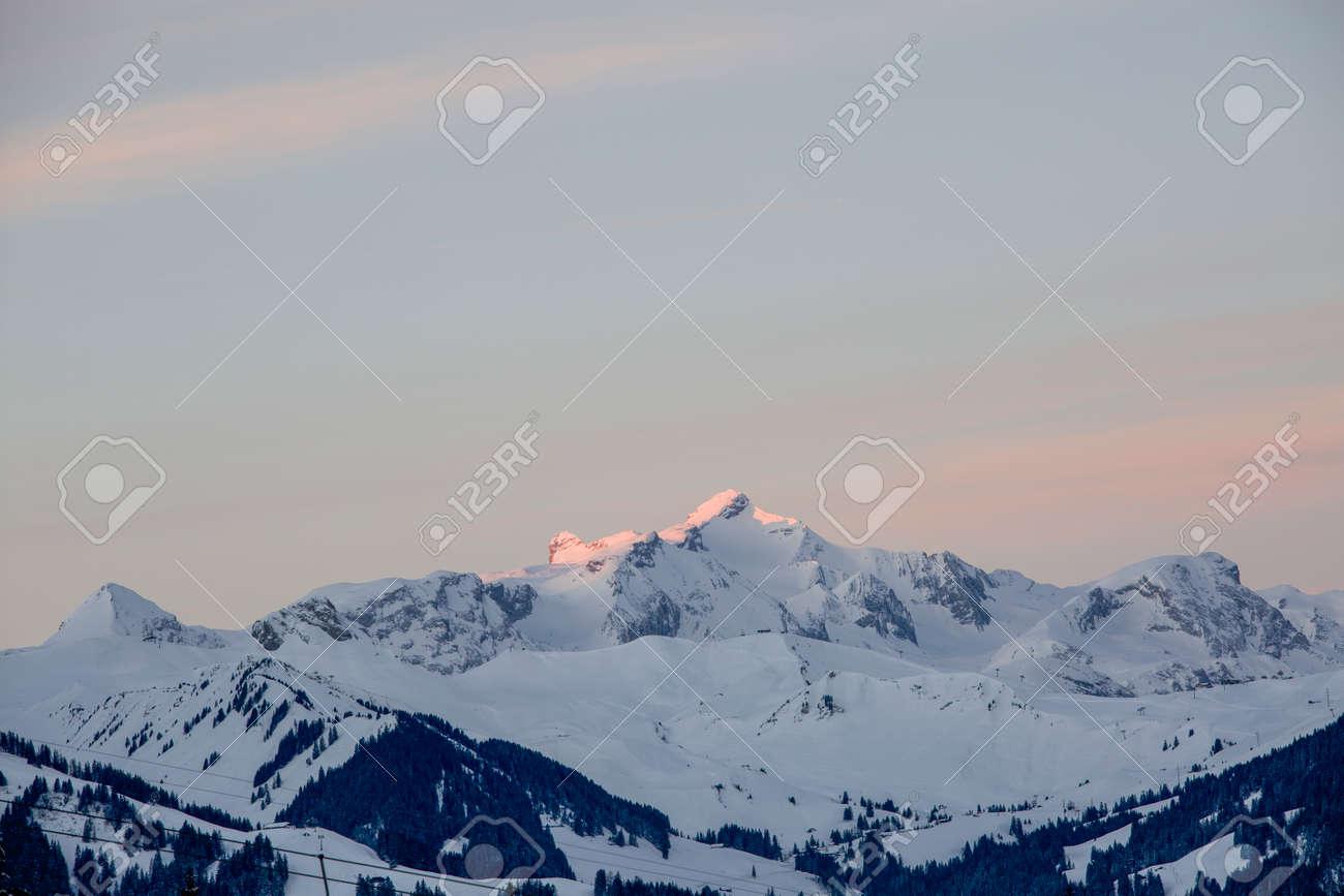 Sunrise in Adelboden region Elsigen Bernese Oberland in winter - 165972195