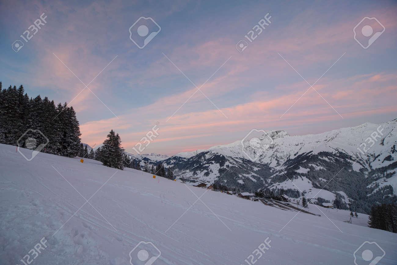 Sunrise in Adelboden region Elsigen Bernese Oberland in winter - 165972196