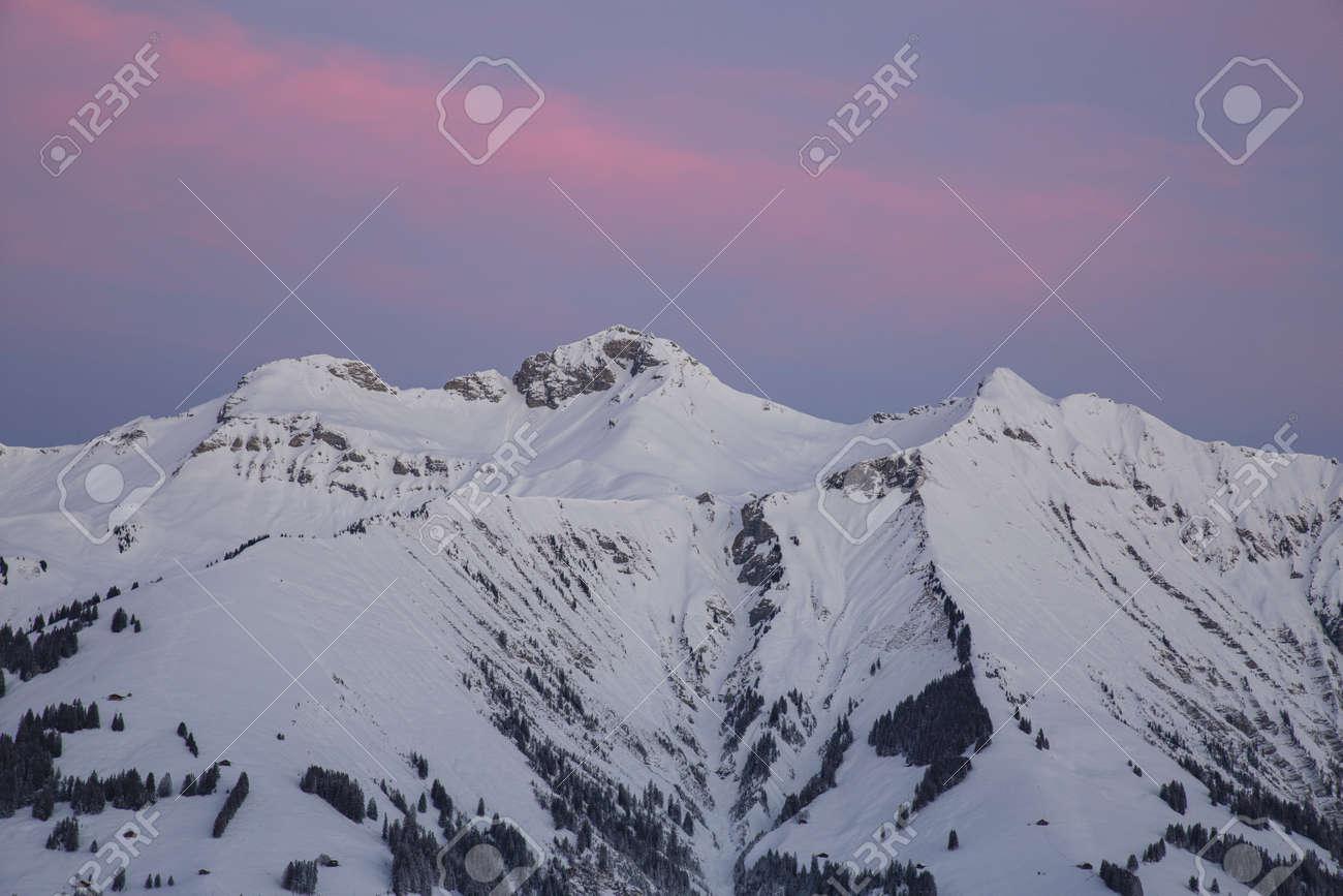 Sunrise in Adelboden region Elsigen Bernese Oberland in winter - 165972198
