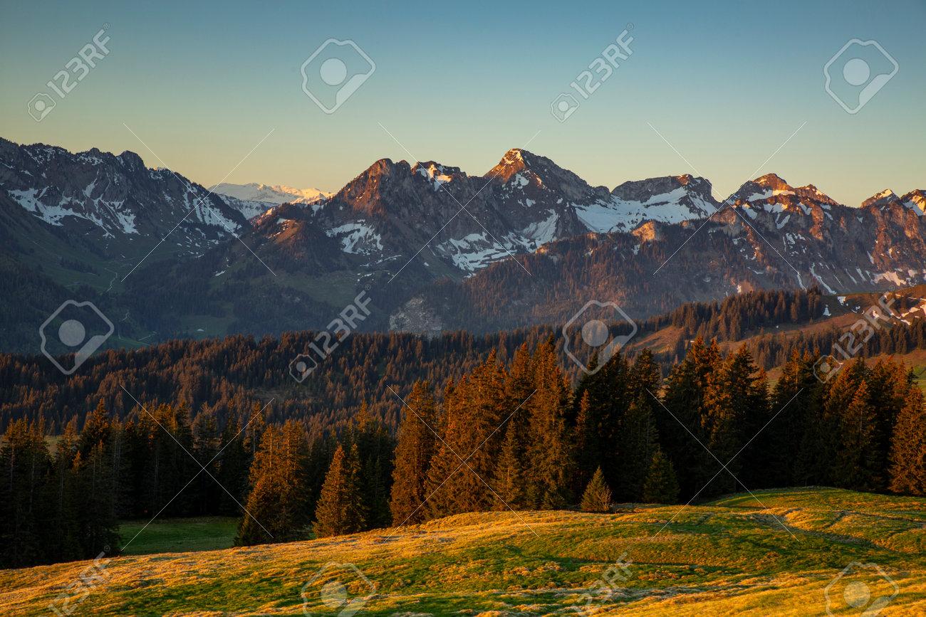 Sunrise over Friborg alps in Switzerland. - 170451874