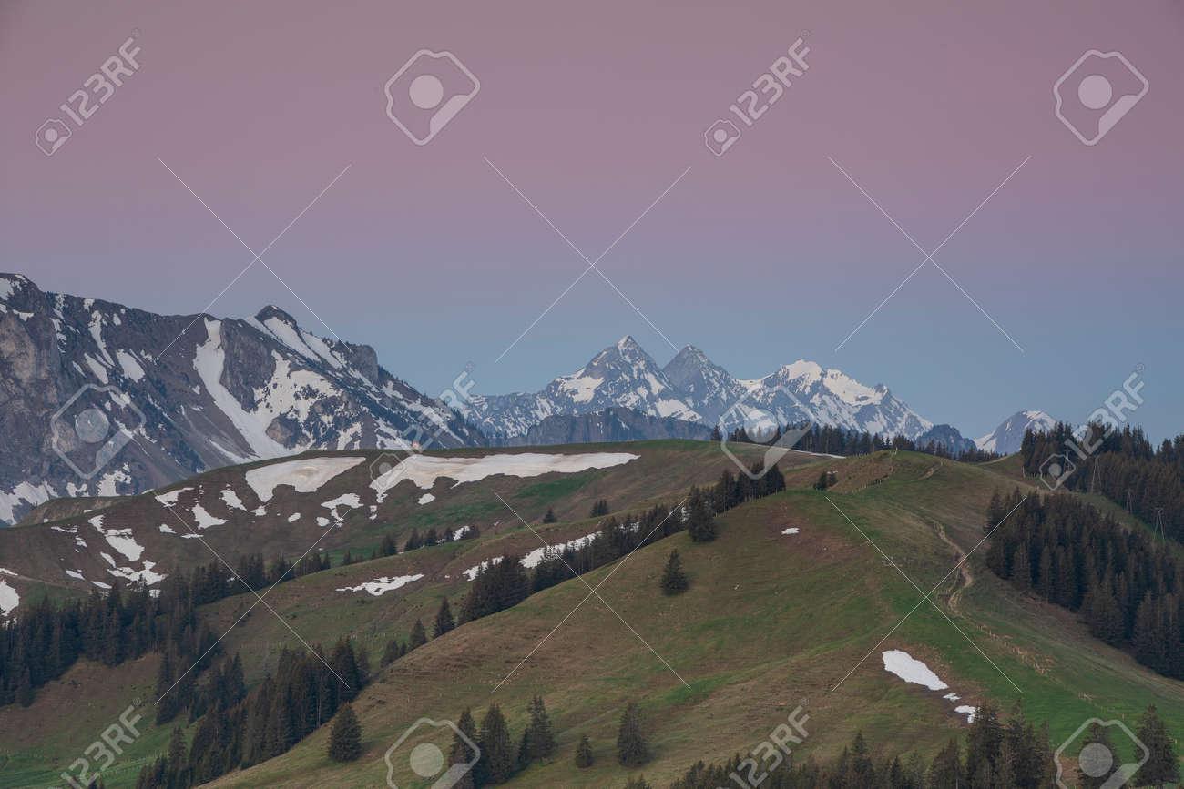 Sunrise over Friborg alps in Switzerland. - 170451625