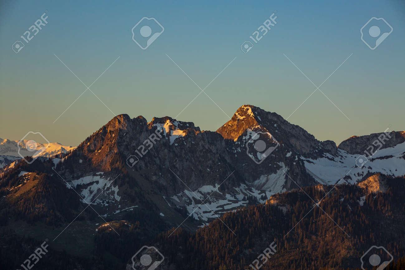 Sunrise over Friborg alps in Switzerland. Sunny blue sky. - 170452457