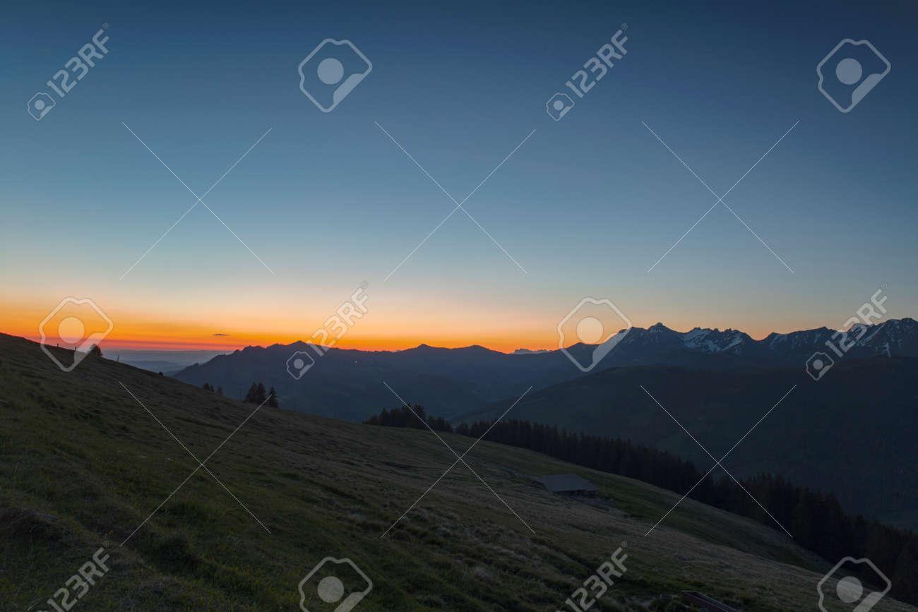 Sunrise over Friborg alps in Switzerland. Sunny blue sky. - 170452075