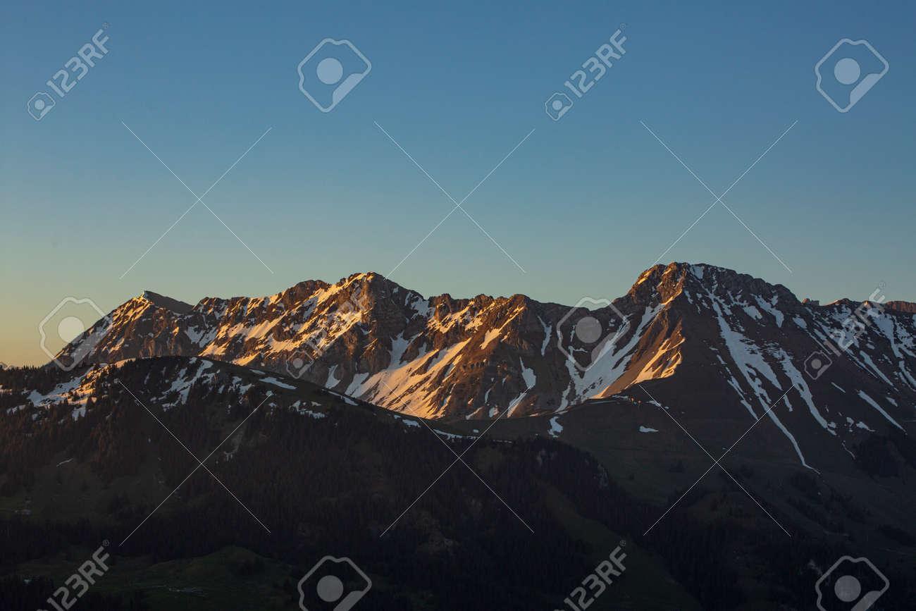 Sunrise over Friborg alps in Switzerland. Sunny blue sky. - 170452054