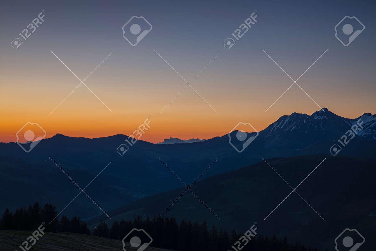 Sunrise over Friborg alps in Switzerland. Sunny blue sky. - 170451660