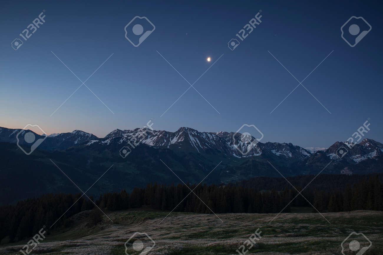 Sunrise over Friborg alps in Switzerland. Sunny blue sky. - 170451846