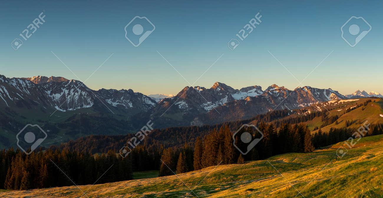 Sunrise over Friborg alps in Switzerland. Sunny blue sky. - 170451893
