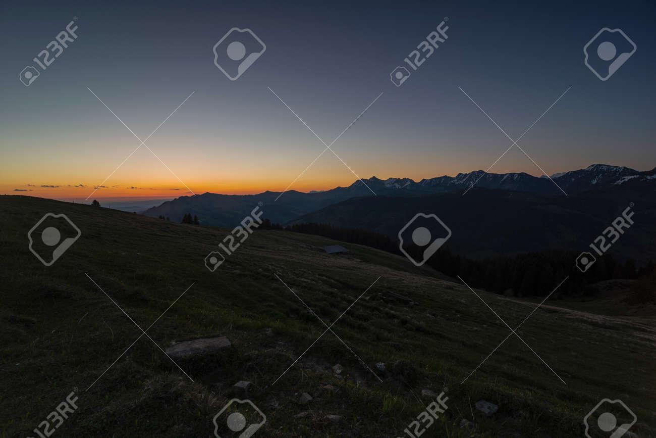Sunrise over Friborg alps in Switzerland. Sunny blue sky. - 170451881