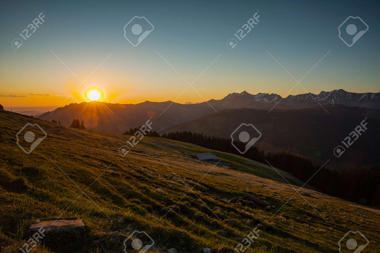 Sunrise over Friborg alps in Switzerland. - 170571844