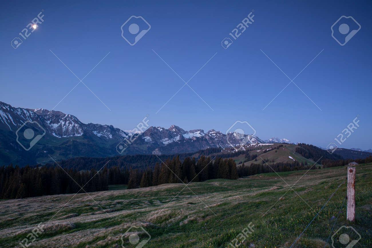 Sunrise over Friborg alps in Switzerland. Sunny blue sky. - 170452426