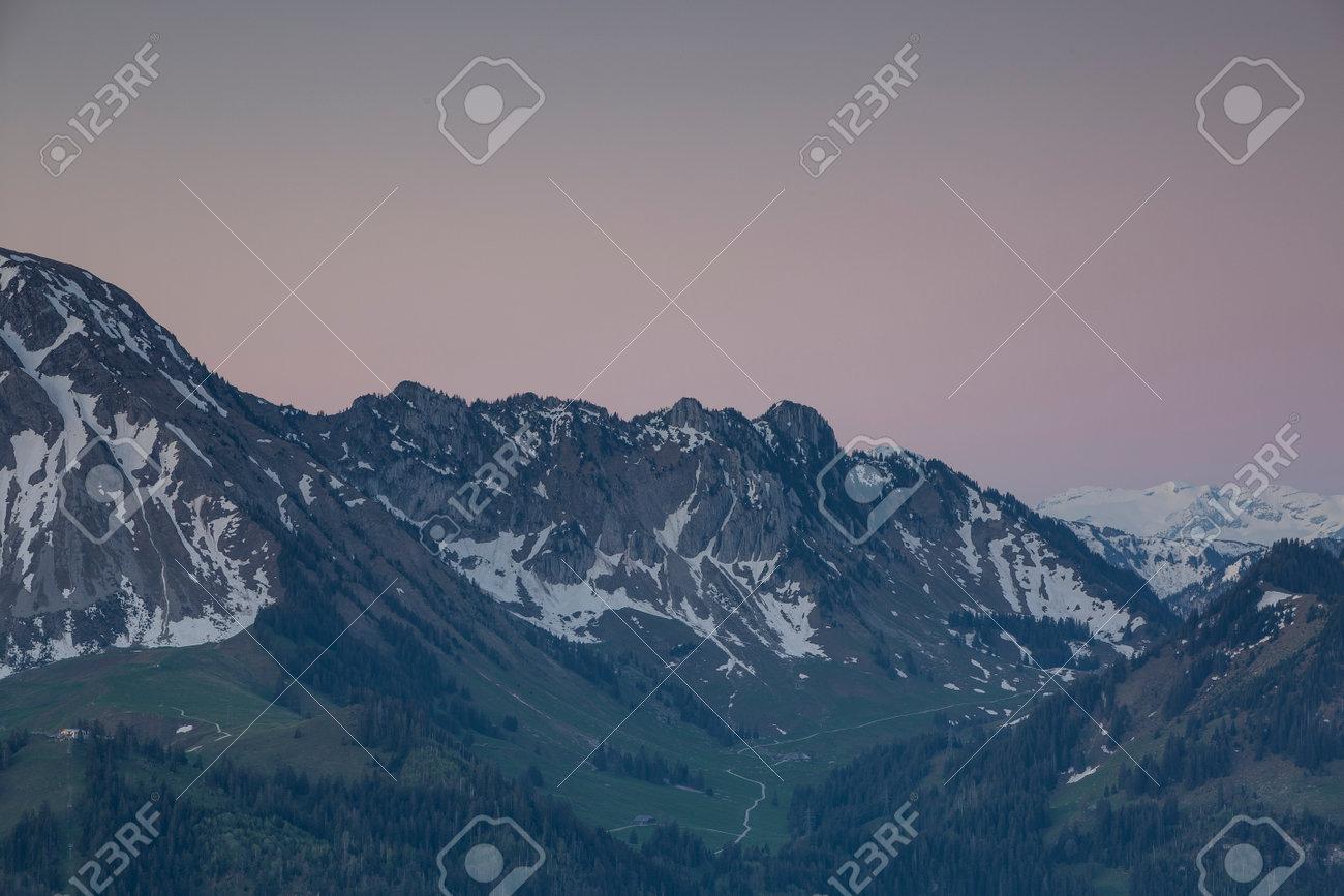 Sunrise over Friborg alps in Switzerland. Sunny blue sky. - 170451870