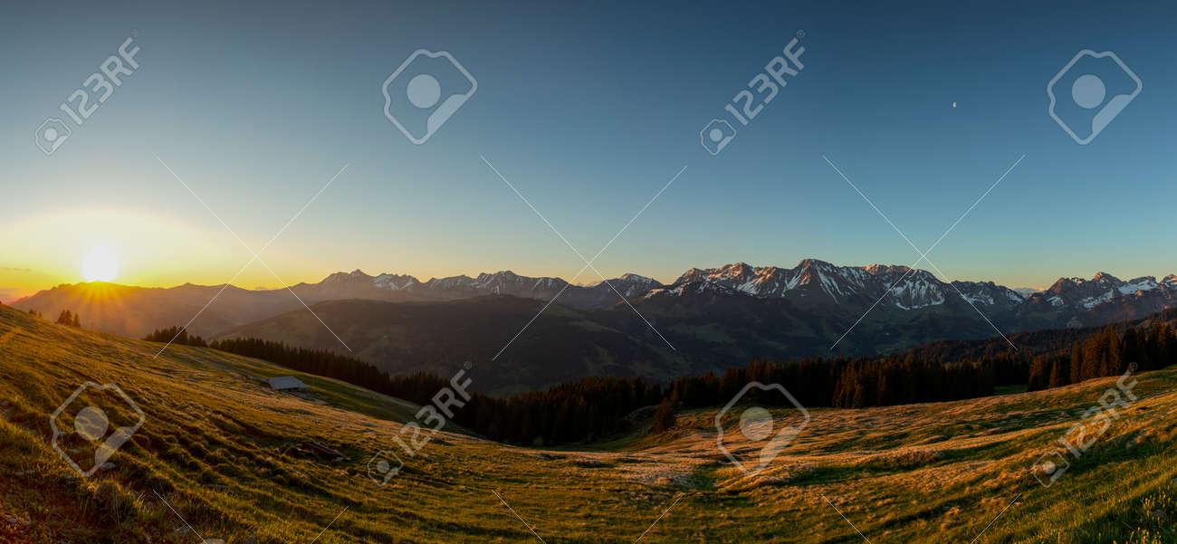 Sunrise over Friborg alps in Switzerland. Sunny blue sky. - 170451707