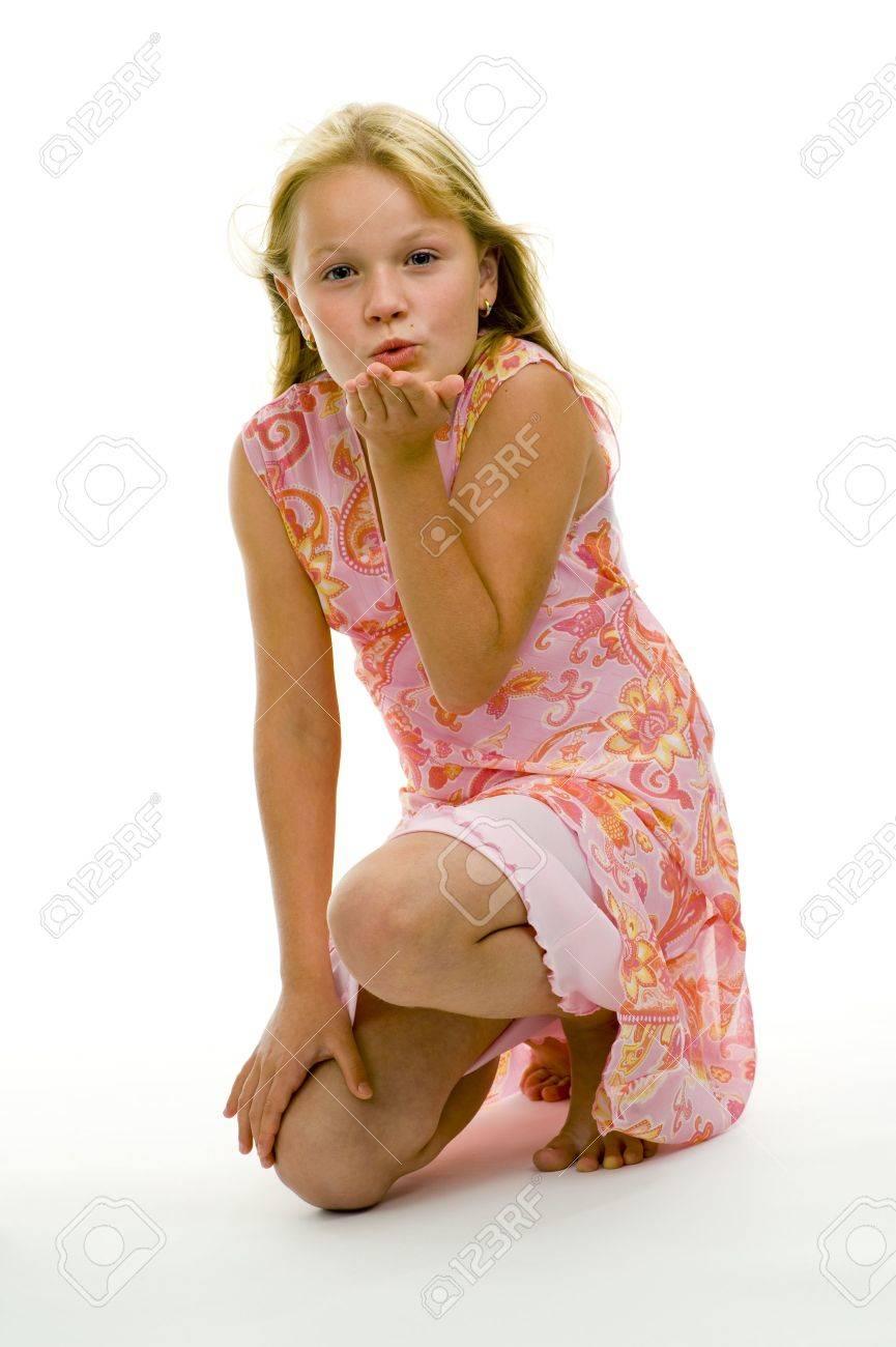 girl sending a kiss isolated on white background Standard-Bild - 5351275