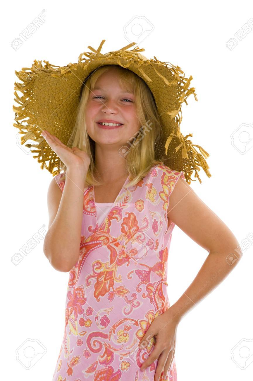 ea029f5c11b happy little girl with summer hat isolated on white Stock Photo - 5441579