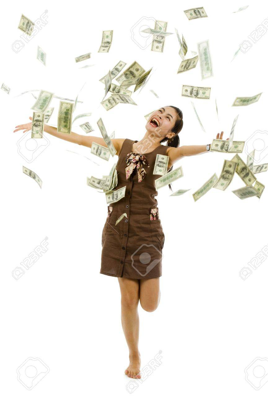 pretty woman throwing 100 dollar bills, isolated on white background - 7138744