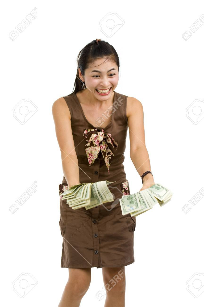 pretty woman holding lots of 100 dollar bills in her hand and almost getting crazy, isolated on white background Stock Photo - 7138747