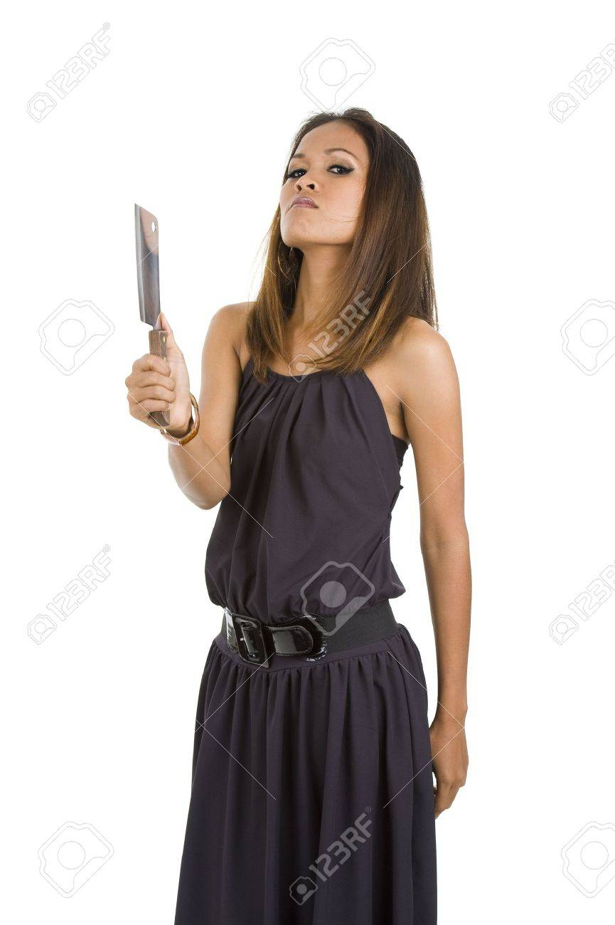 beautiful angry woman with a big kitchen knife, isolated on white background Stock Photo - 7806881