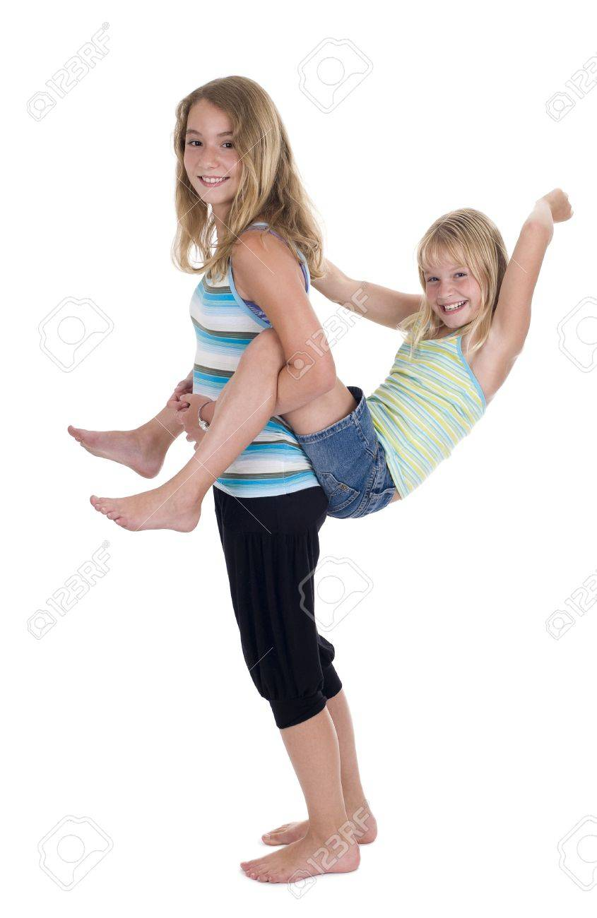 Playful Young Naughty Sisters Having Fun Isolated On White Stock Photo 8060012
