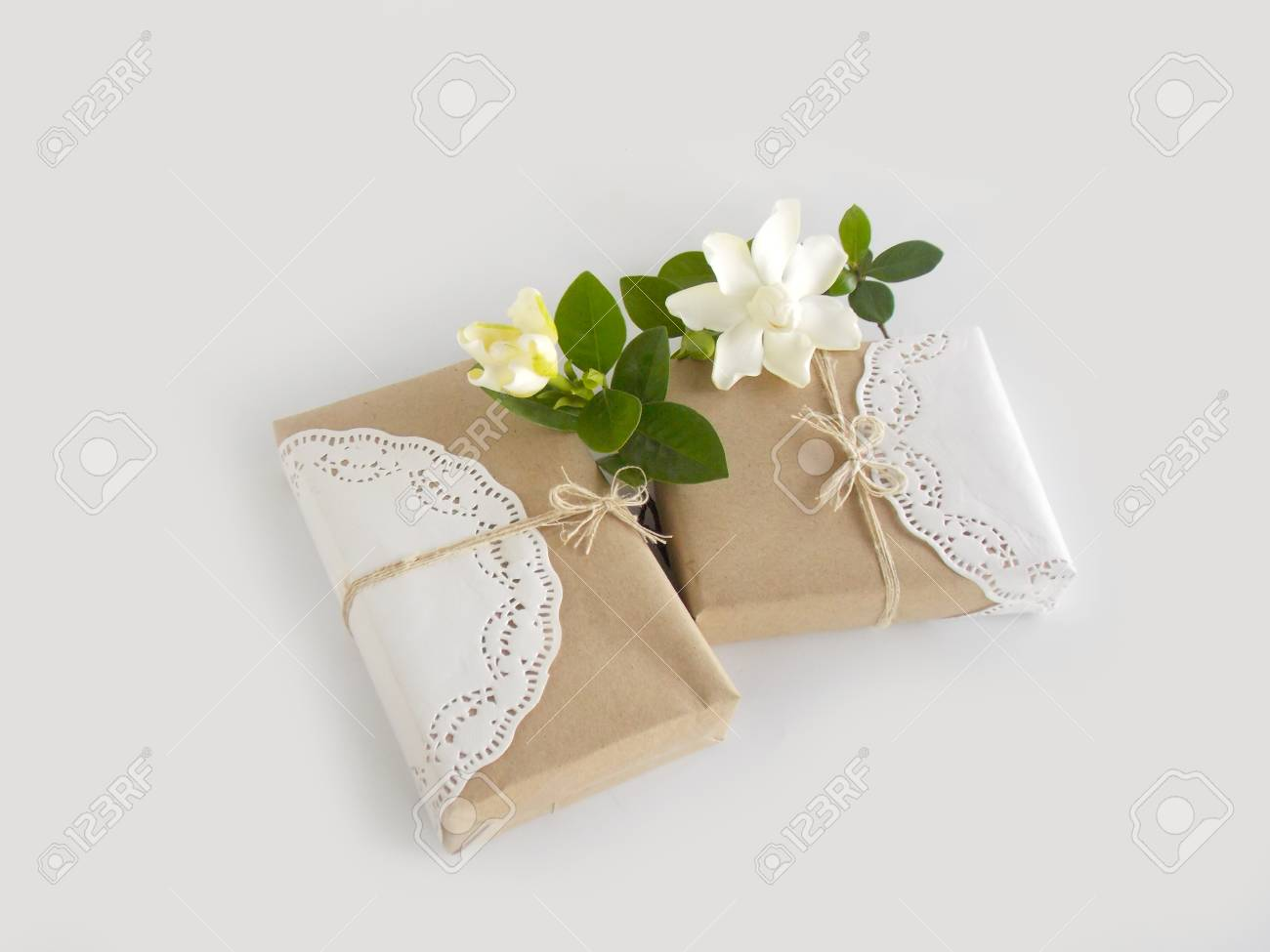 Gift Box With White Gardenia Flower Stock Photo Picture And Royalty