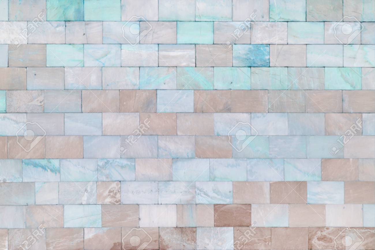The Wall Is Made Of Marble Turquoise And Pale Brown Tiles. Beautiful ...