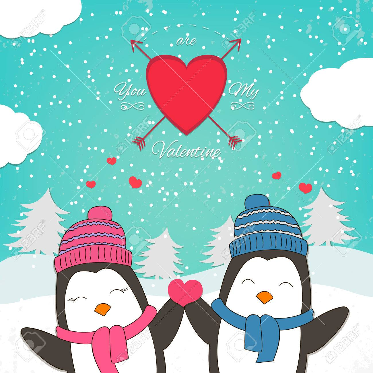 Happy Valentines Day Card With Cute Penguin Couple Vector