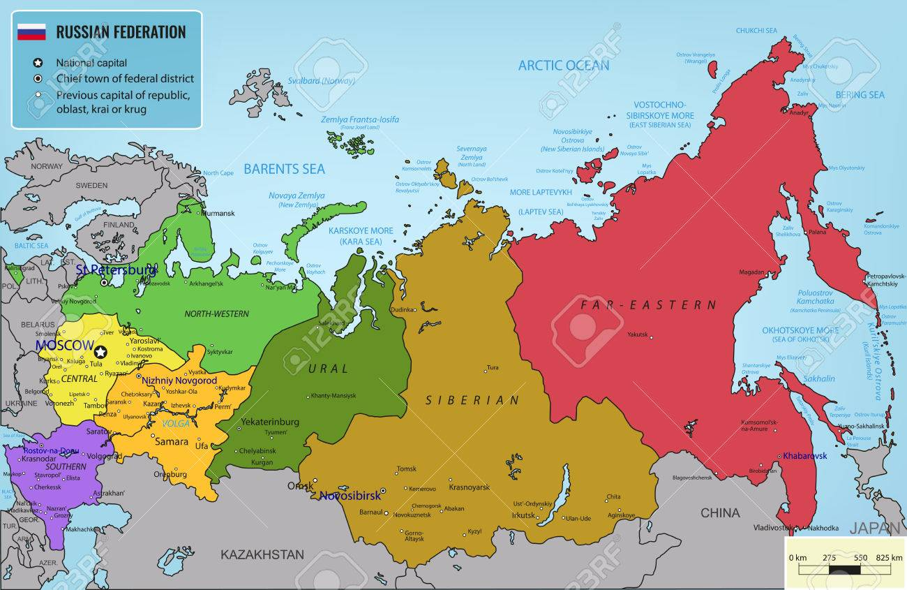 Russian Federation Map With Selectable Territories. Illustration ...