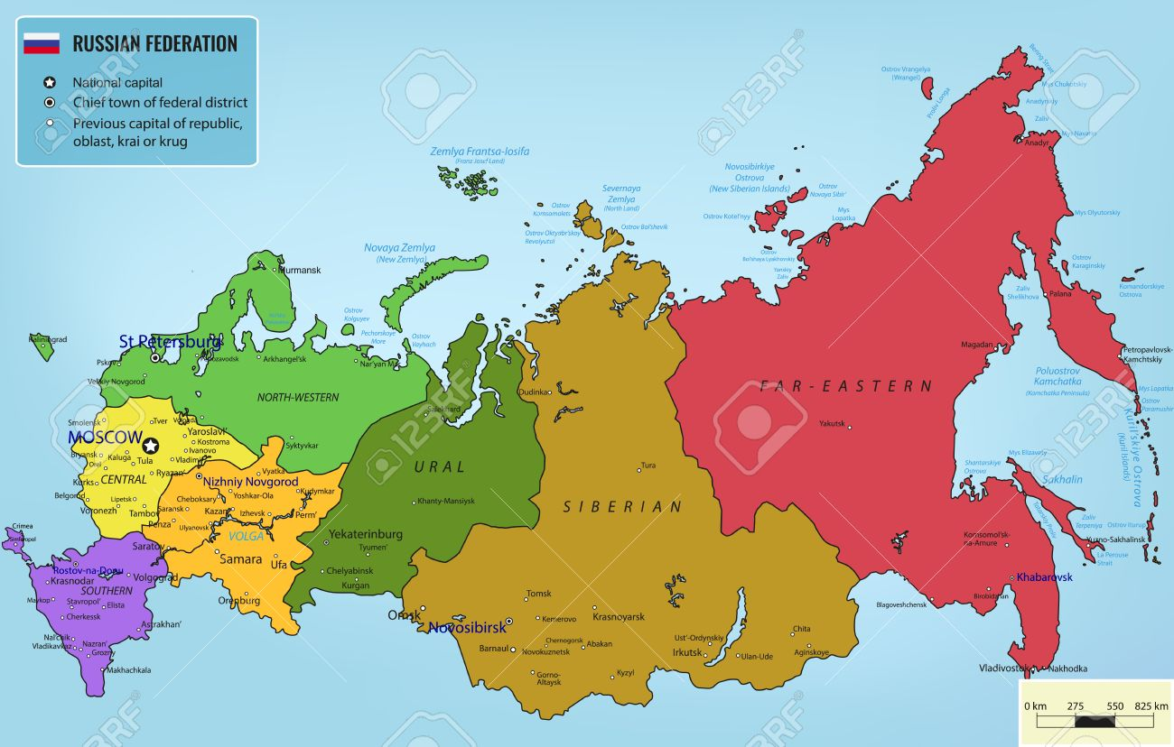 Russian Federation Map With Selectable Territories Illustration - Russian federation map