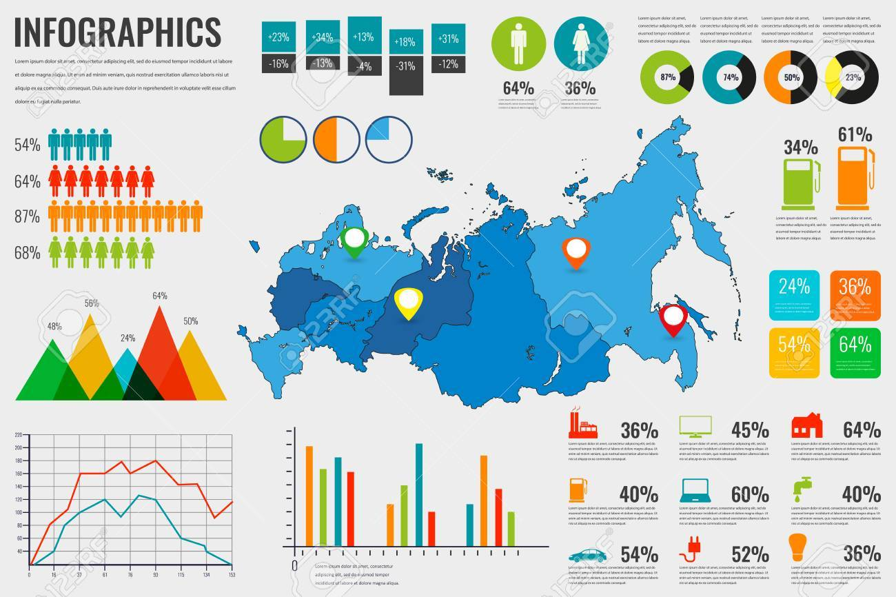 Russian Federation Map With Infographics Elements. Infographics ...