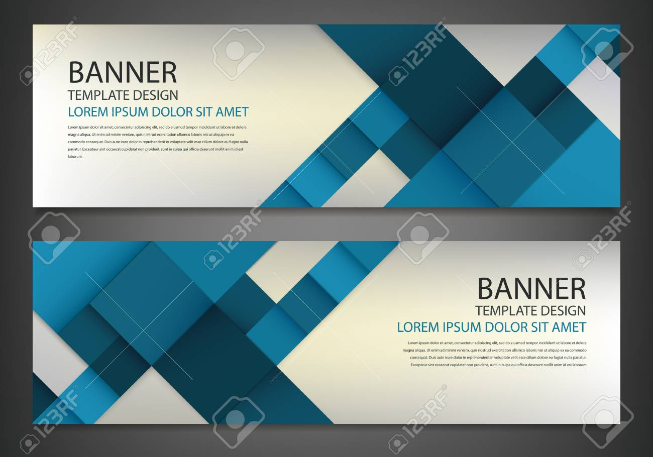 Two banners with colorful squares business design template two banners with colorful squares business design template website template horizontal banners set wajeb Gallery