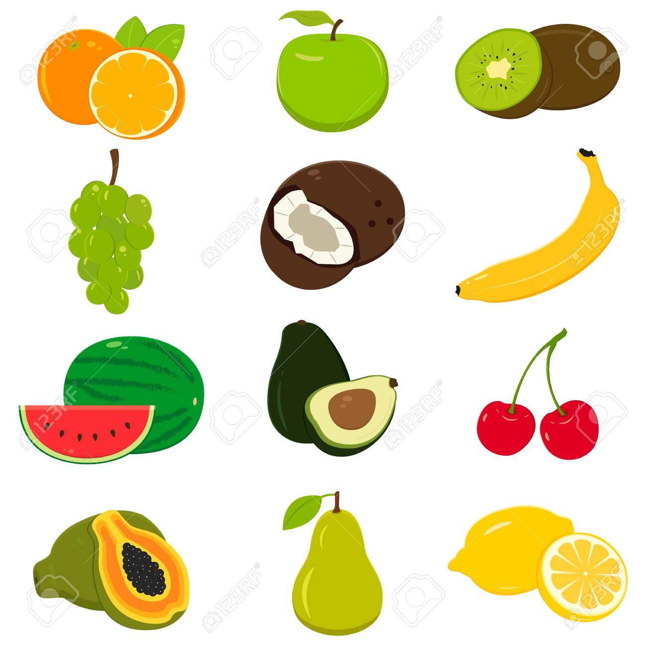 Conjunto De Iconos De Colores De Frutas De Dibujos Animados Aislado