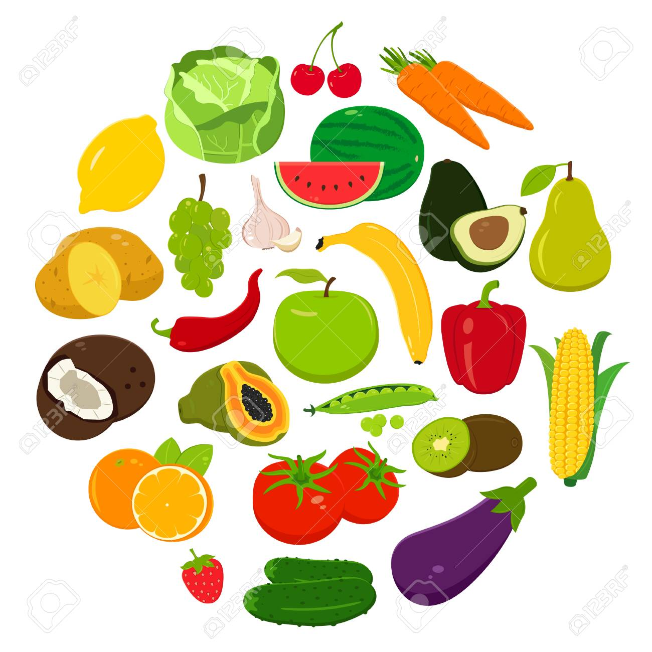 fruits and vegetables icons organic fruits and vegetables template
