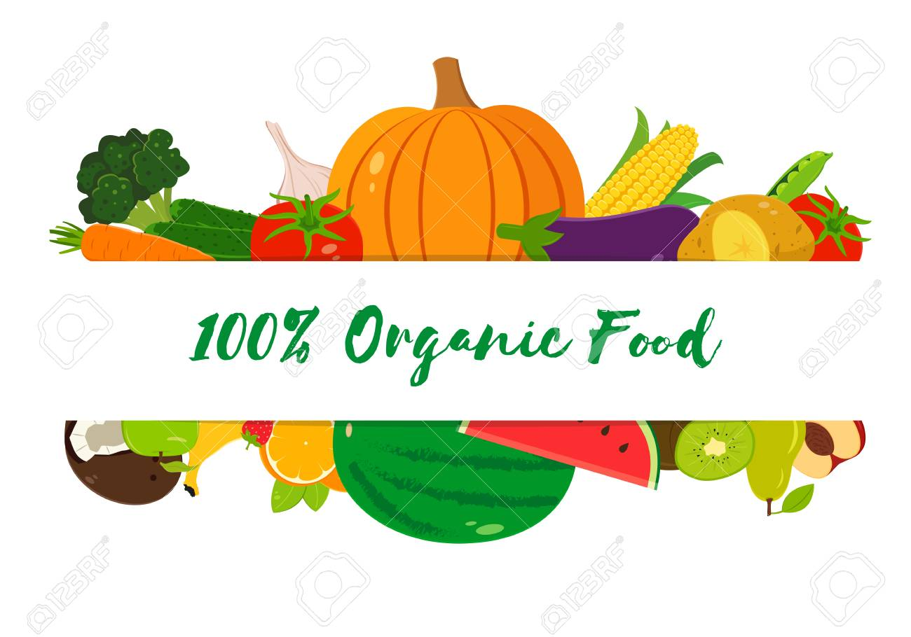 organic fruits and vegetables template healthy eating concept
