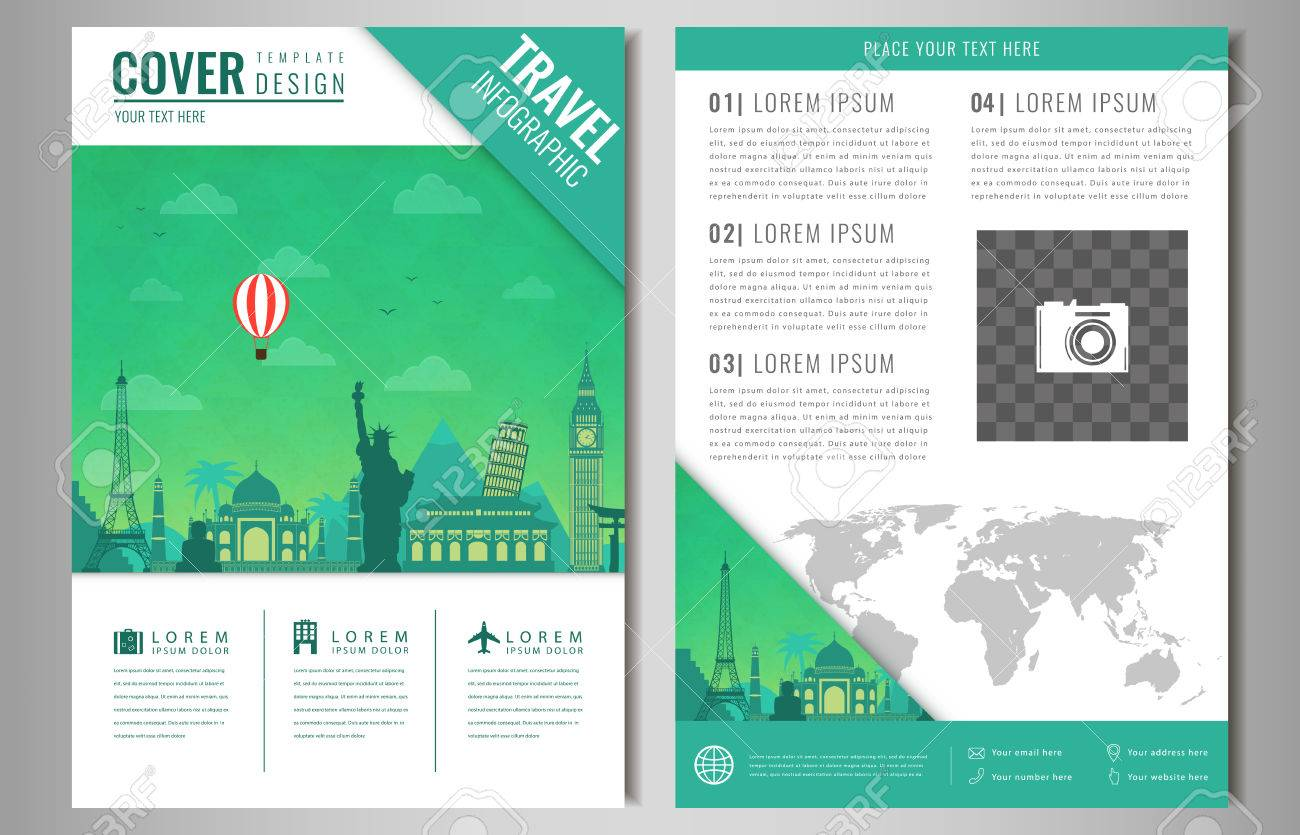 Travel brochure design with famous landmarks and world map travel brochure design with famous landmarks and world map template for travel and tourism business gumiabroncs Choice Image