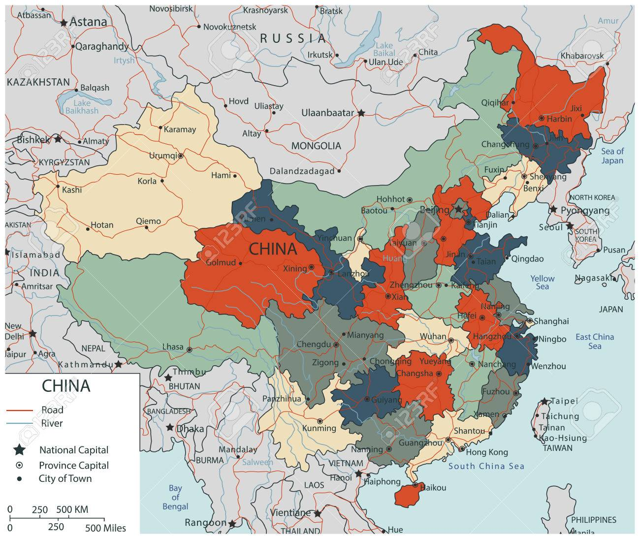 Chinese Political Map.Colorful China Political Map With Selectable Territories Vector