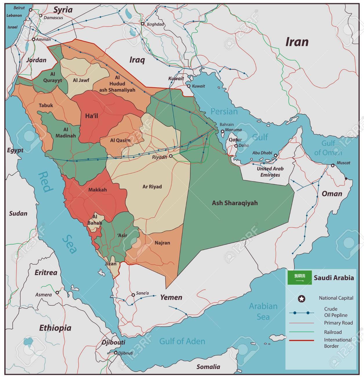 Saudi Arabien Karte Mit Wahlbaren Gebieten Vektor Illustration