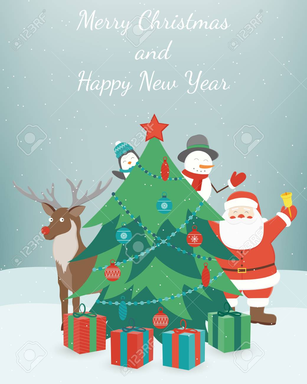 Greeting Christmas And New Year Card Merry Christmas And Happy