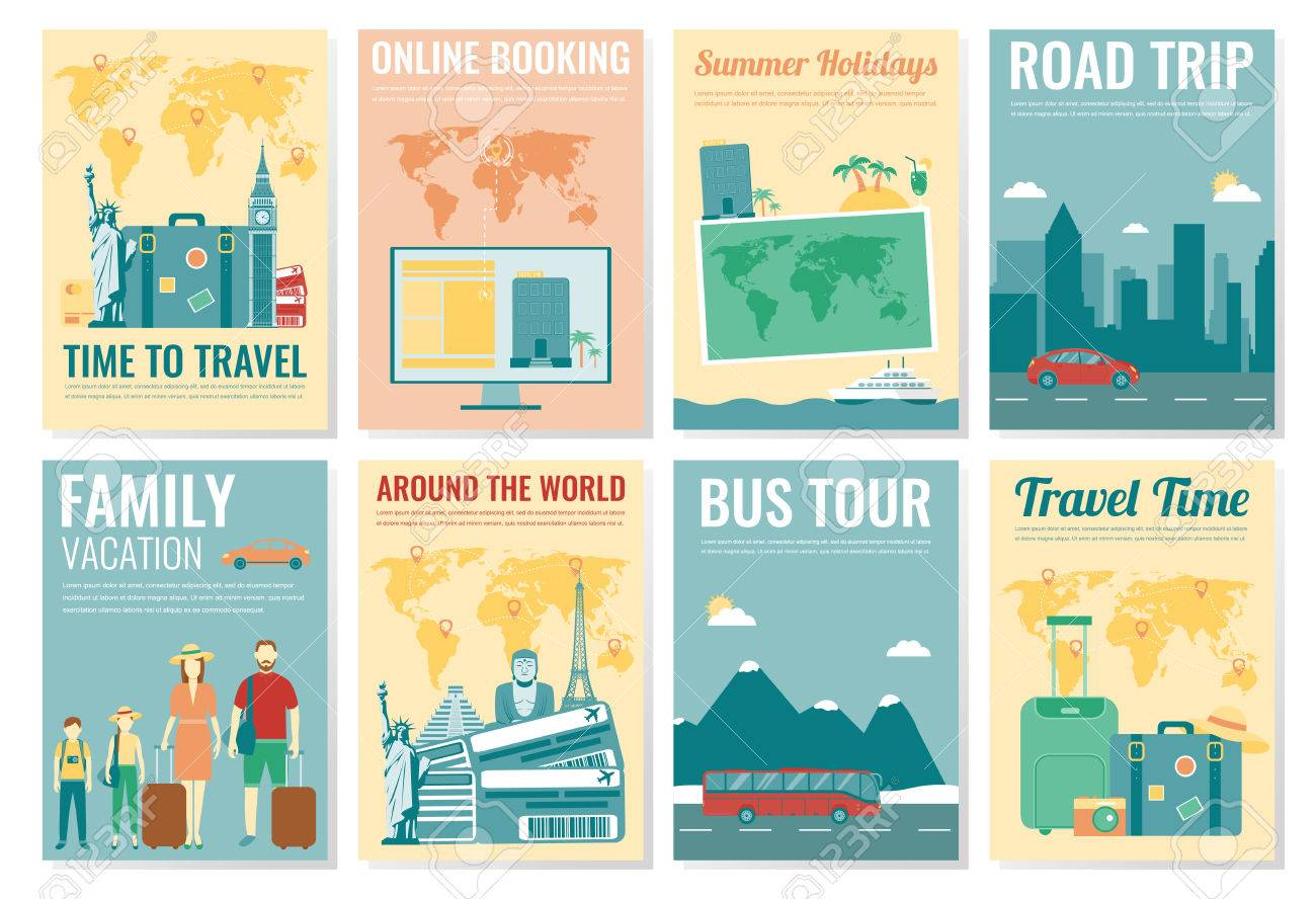 Travel And Tourism Brochure Set Template Of Magazine Poster