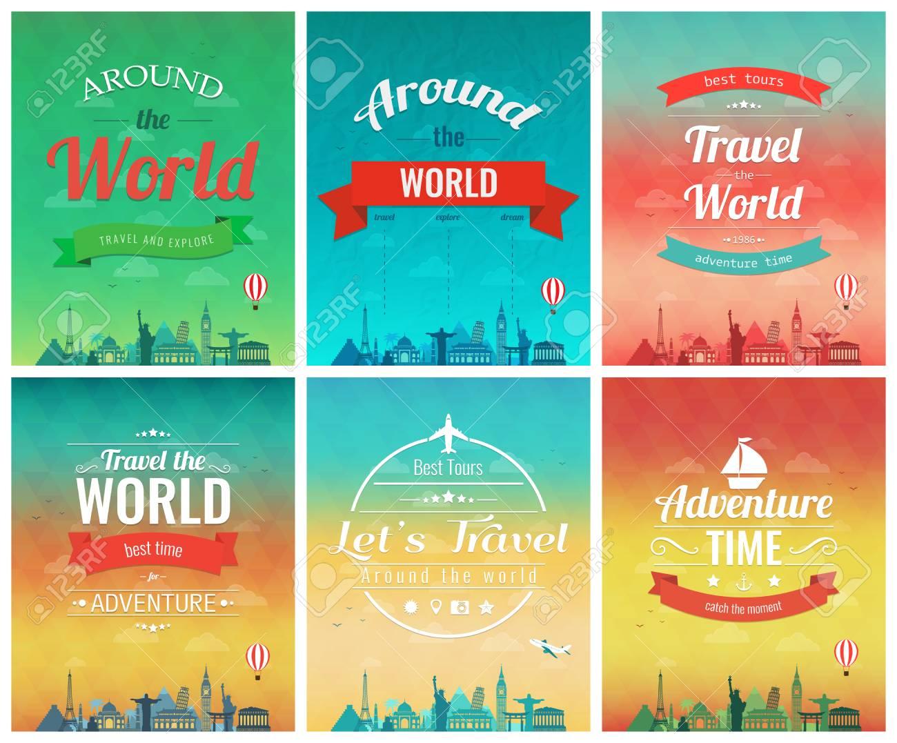 Folleto De Viaje Con Puntos De Referencia Mundiales. Plantilla De ...