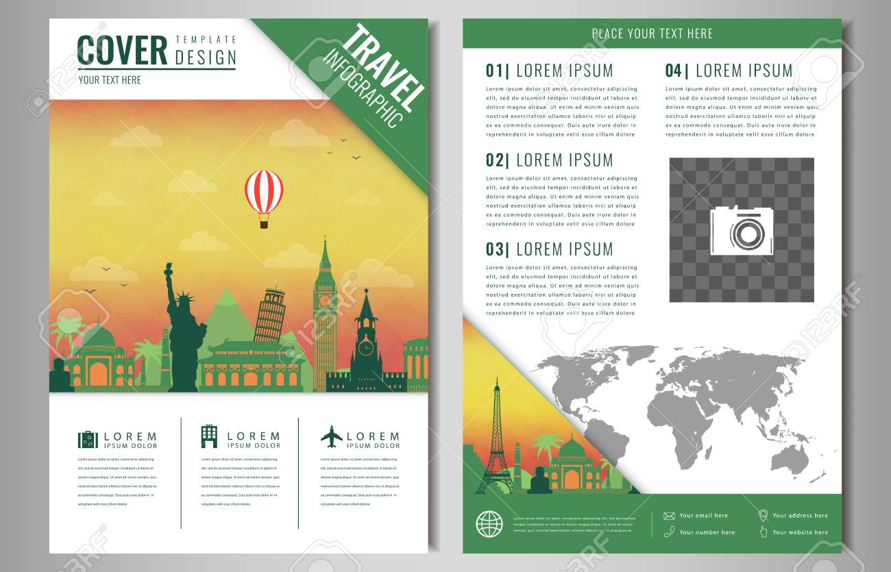Travel brochure design with famous landmarks and world map template travel brochure design with famous landmarks and world map template for travel and tourism business gumiabroncs Image collections