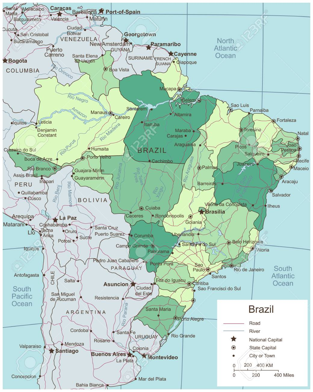 Brazil Political Map With Selectable Territories Vector Royalty - Brazil political map