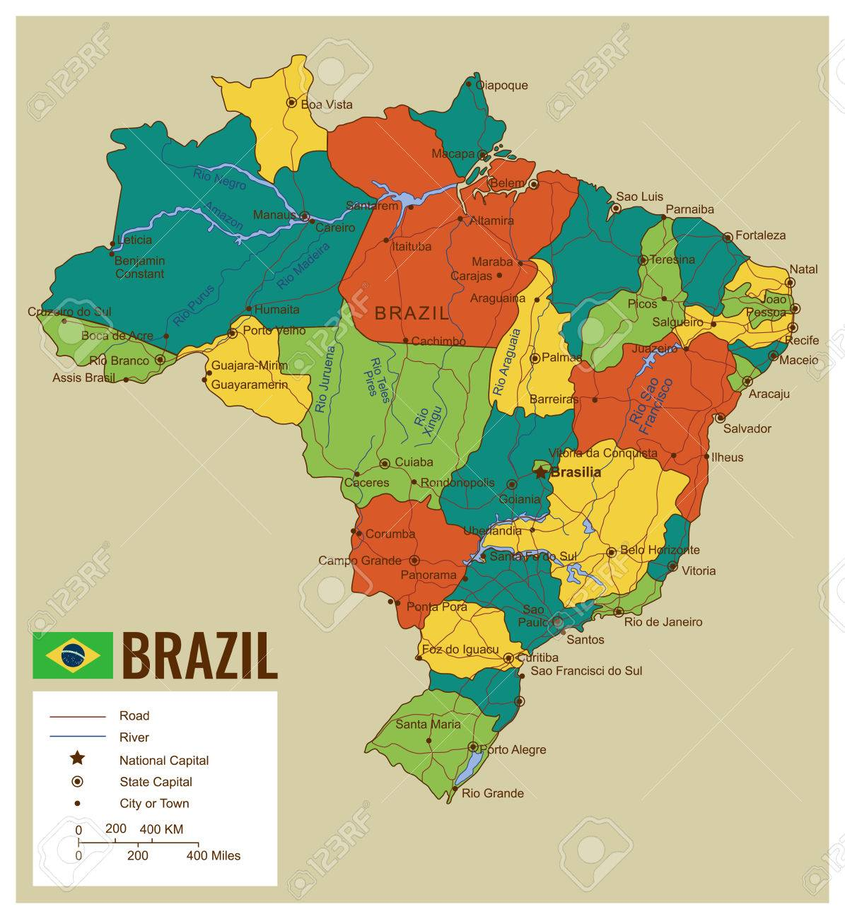 Brazil Political Map With Selectable Territories Vector Royalty