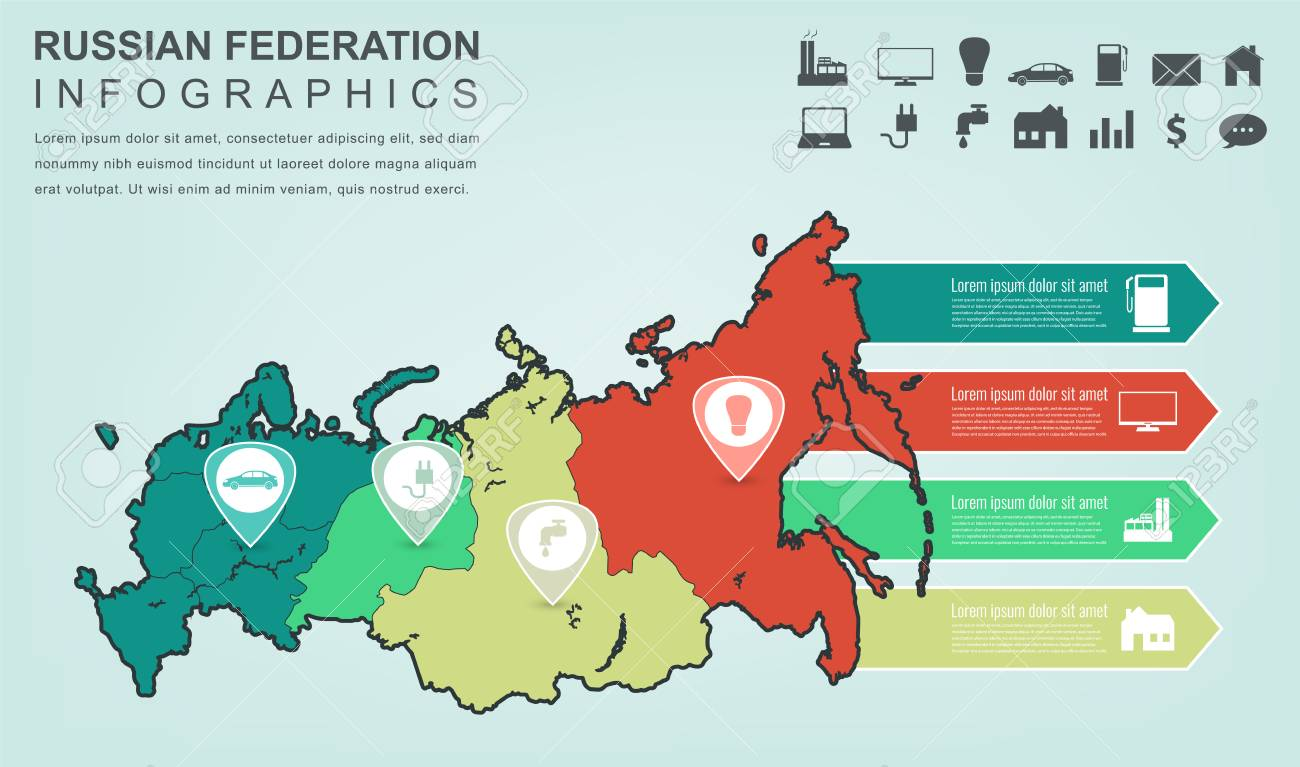 Russian Federation Map With Infographic Elements. Infographics ...