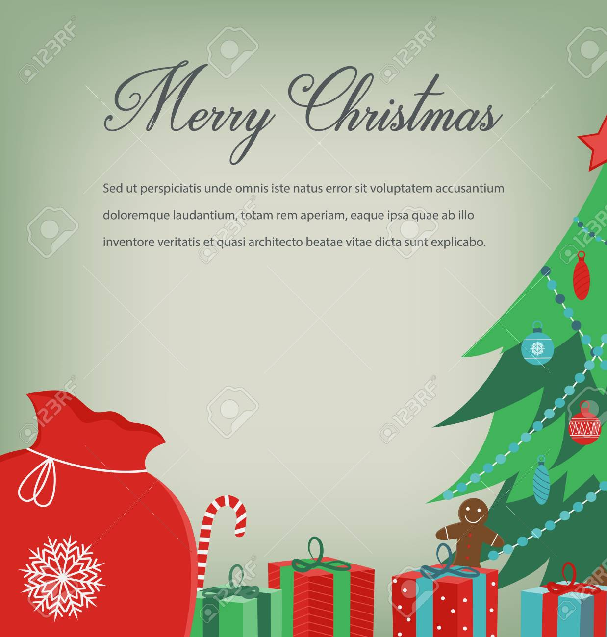 Christmas greeting card with Merry Christmas wishes. Vector illustration