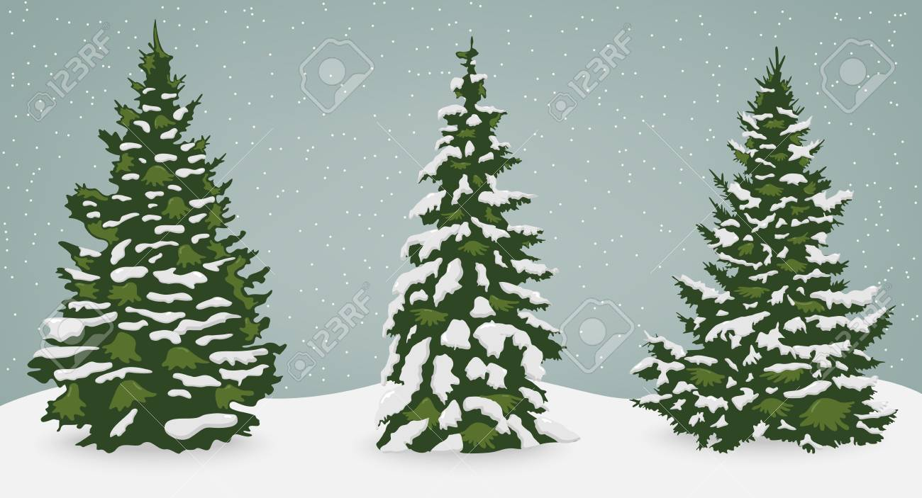 Christmas Tree Vector.Snow Trees Set On Isolated Background Christmas Tree Vector
