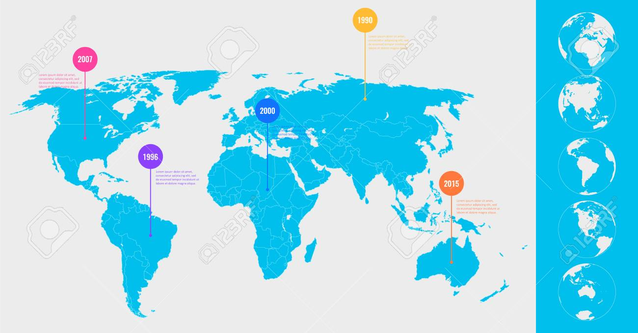 World Map Info Graphic Template All Country Are Selectable