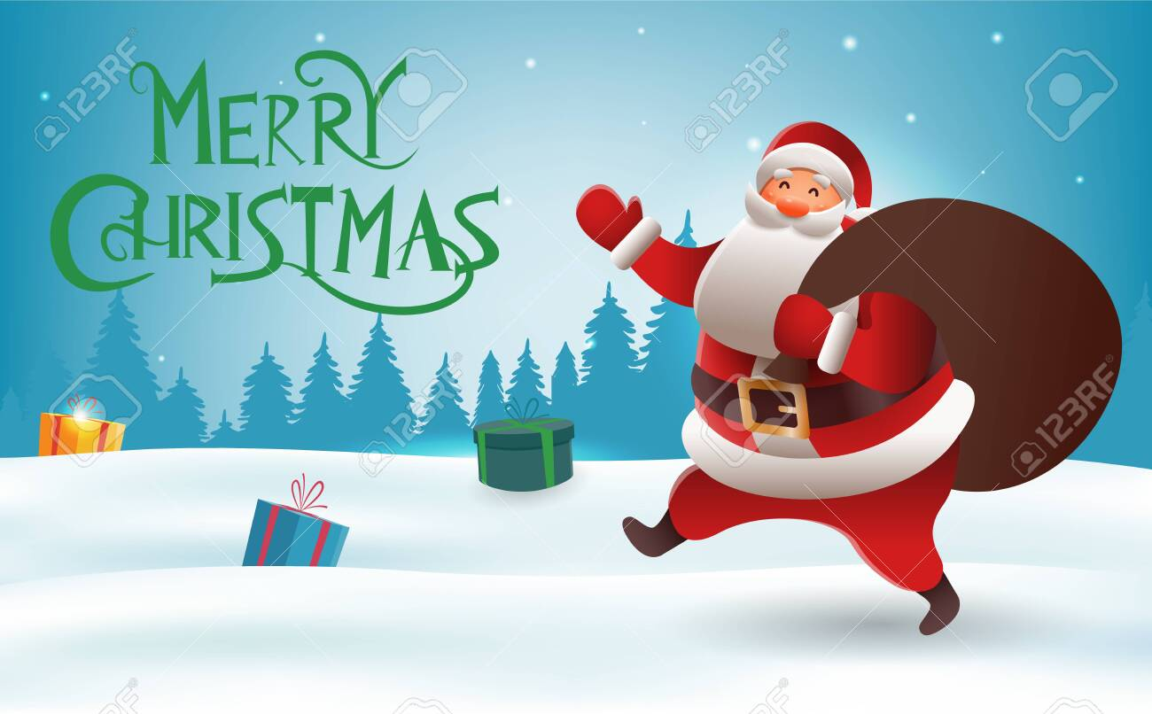 Christmas Background With Santa Claus Cute Christmas Santa With