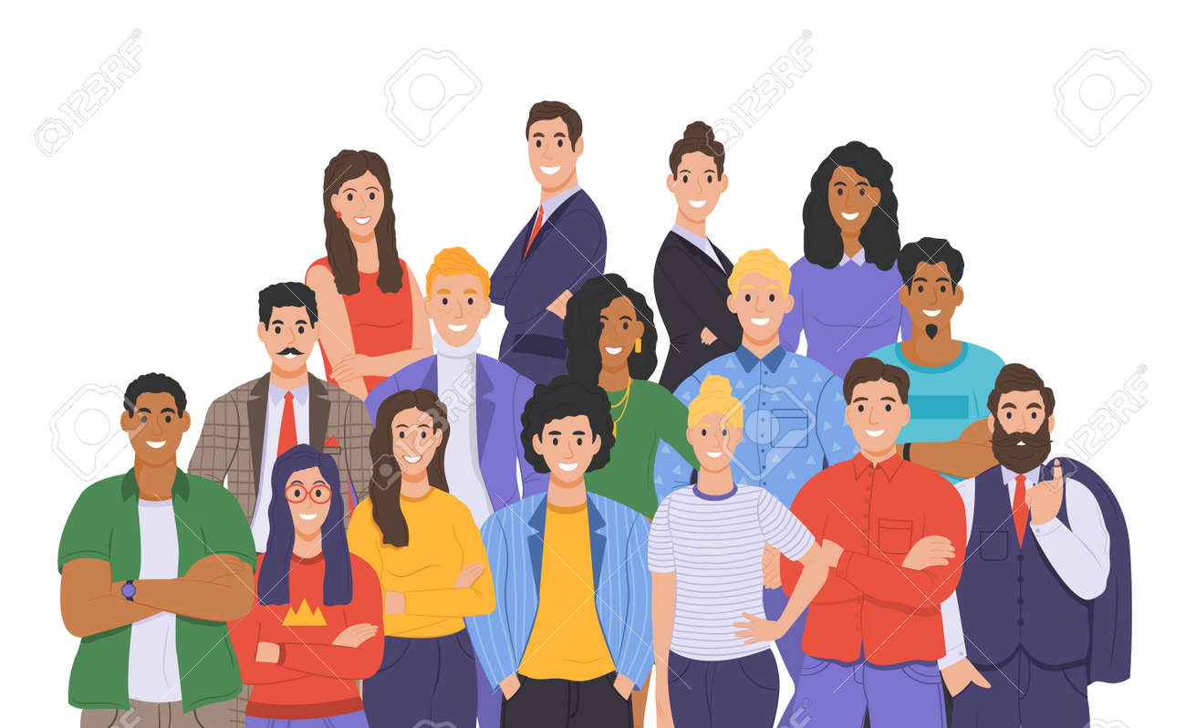 Multicultural group of people. People of different races and cultures. Cartoon characters set in flat design style. Vector - 163016414