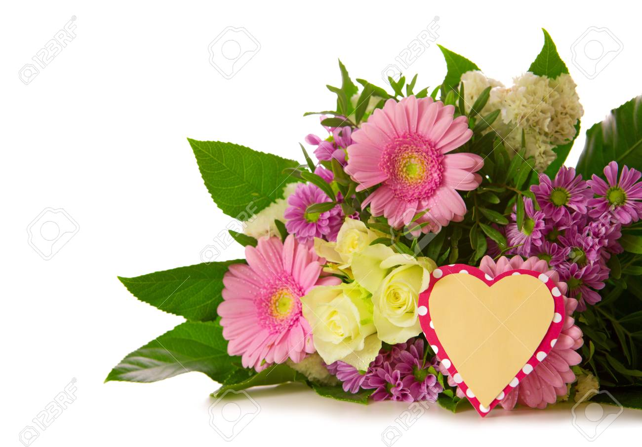 Colorful Fresh Flowers Bouquet Isolated On White Background And ...