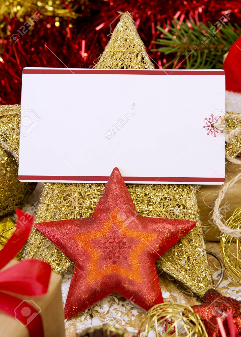 merry christmas and a happy new year cardblank christmas card with giftssanta