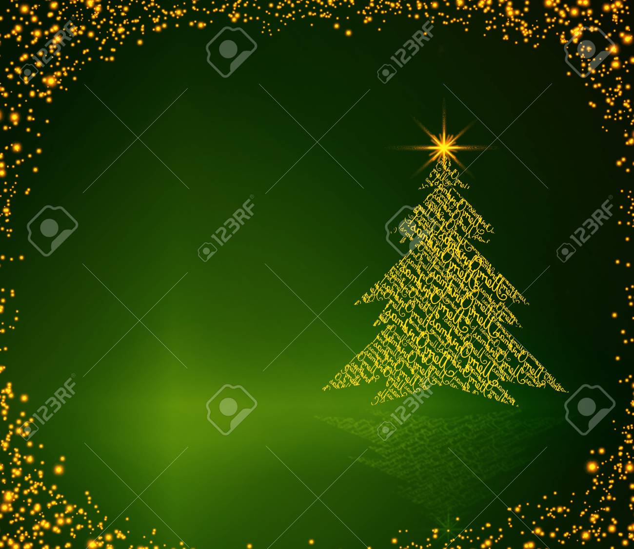 Merry Christmas And Happy New Year Card With Beautiful Christmas